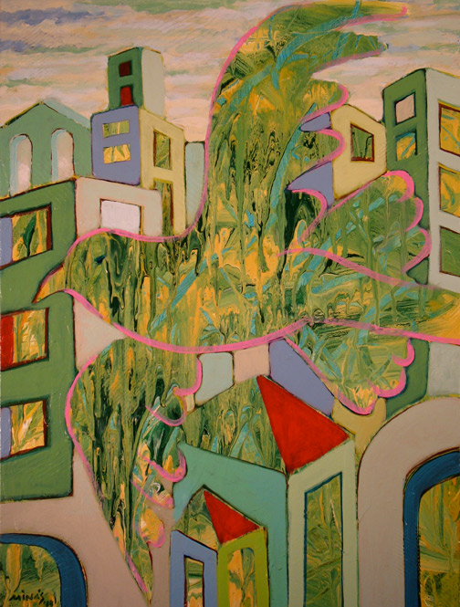 Minas Konsolas painting: Dream City Citizen (Variation 2)