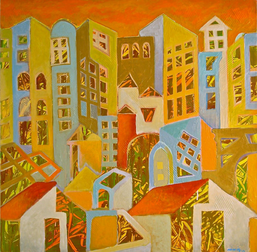 Minas Konsolas painting: Dream City (Variation 3)